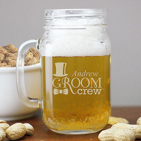 Groom Crew Engraved Mason Jar
