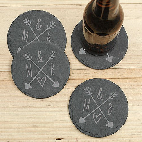 Arrows & Initials Slate Coaster Set