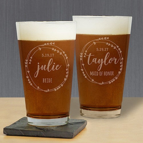 Custom Heart Wreath Pint Glass