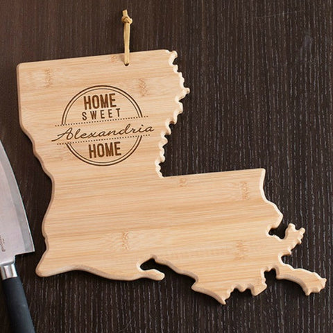 Louisiana State Shaped Cutting Board