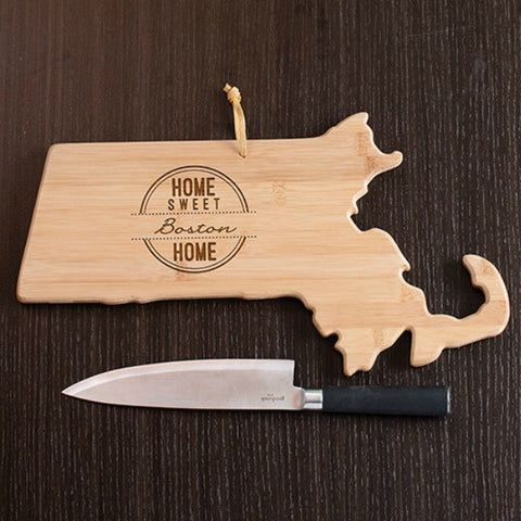 Massachusetts State Shaped Cutting Board