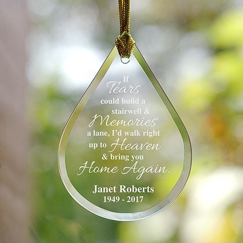 Engraved Memorial Tear Drop Ornament