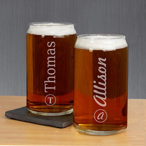 Custom Name & Initial Beer Can Glass