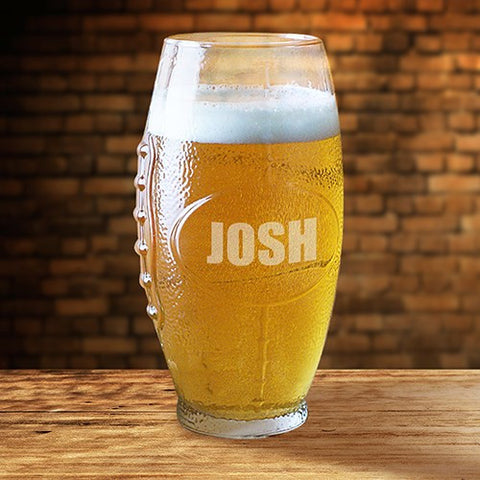 Engraved Football Beer Glass