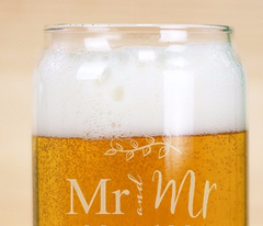 Couple's Engraved Beer Can Glass