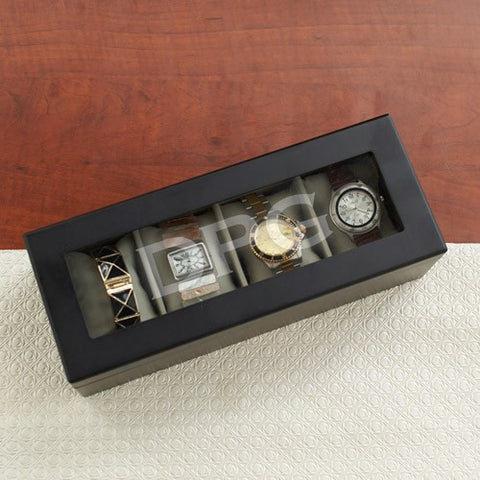 Engraved Black Wood Watch Box