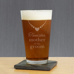 Engraved Bridal Party Pint Glass