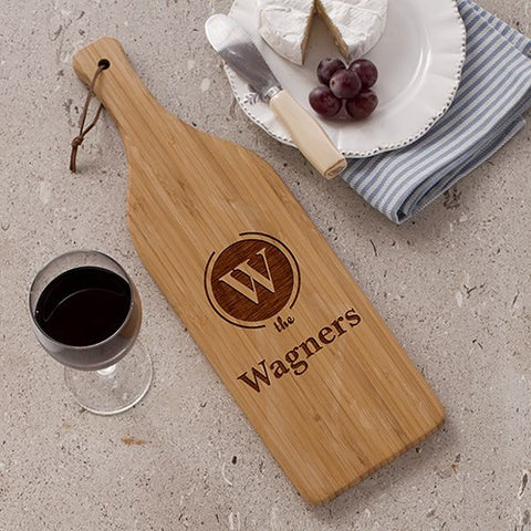 Engraved Family Name Wine Cheese Board