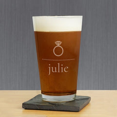 Diamond Ring Personalized Pint Glass