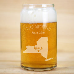 Home State Beer Can Glass