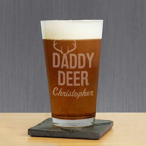 Daddy Deer Engraved Pint Glass