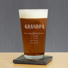 Dad Established Personalized Pint Glass