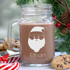 Santa Engraved Mason Jar
