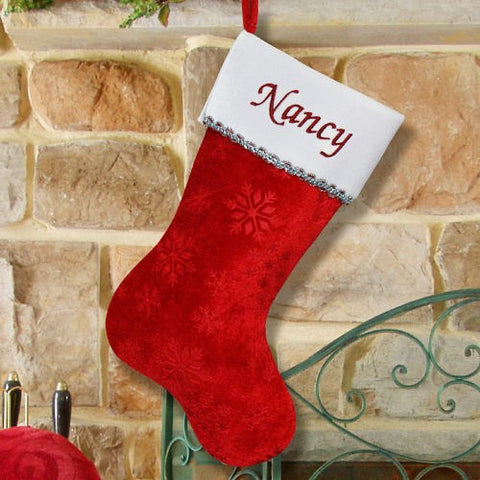 Red Snowflake Personalized Christmas Stockings