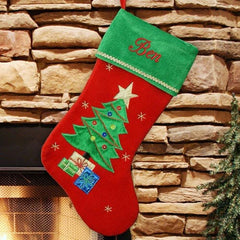 Christmas Tree Embroidered Christmas Stocking