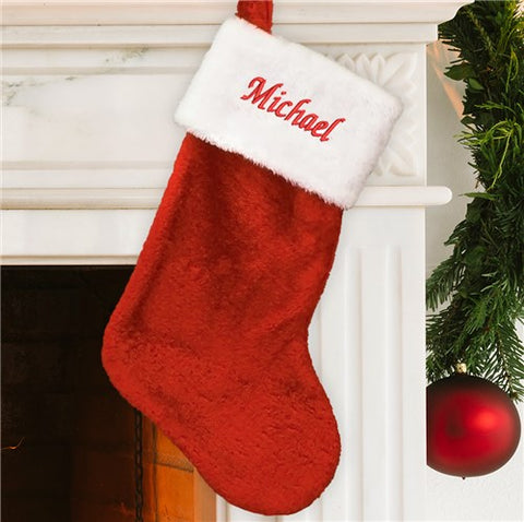 Red Plush Embroidered Christmas Stocking