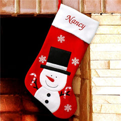 Snowman Embroidered Stocking