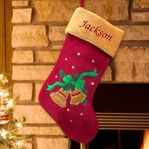 Christmas Bells Embroidered Stocking