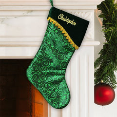 Green Embroidered Christmas Stocking