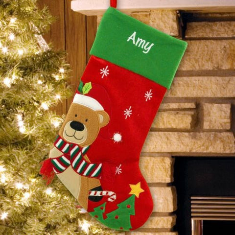 Teddy Bear Personalized Christmas Stocking