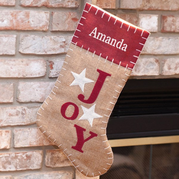 Joy Embroidered Burlap Stocking