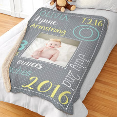 Personalized Baby Birth Photo Blanket