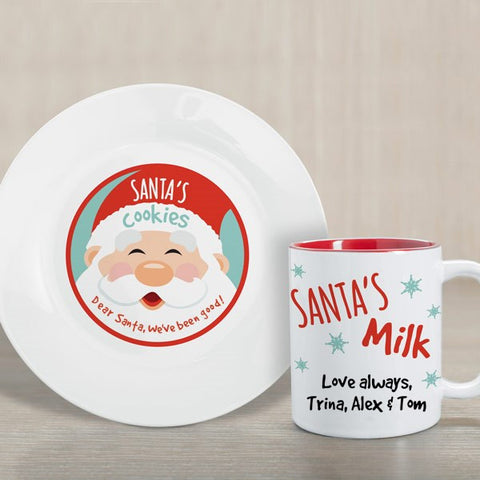 Custom Santa's Cookies & Milk Set
