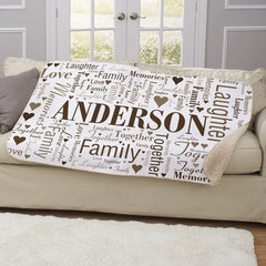 Family Word-Art Sherpa Throw