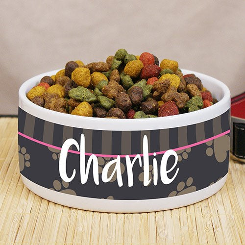 Heart Print Personalized Pet Food Bowl