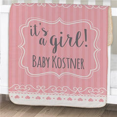 Personalized It's A Girl Baby Blanket