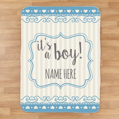 Personalized It's A Boy Baby Blanket