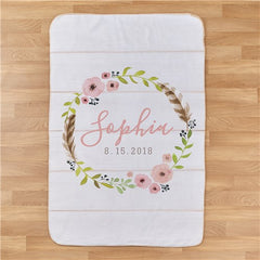 Personalized Floral Wreath Baby Girl Blanket
