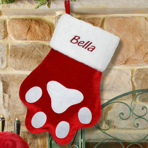 Red Paw Embroidered Pet Stocking