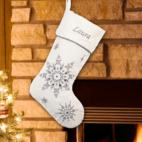 Silver Snowflakes Embroidered Christmas Stocking