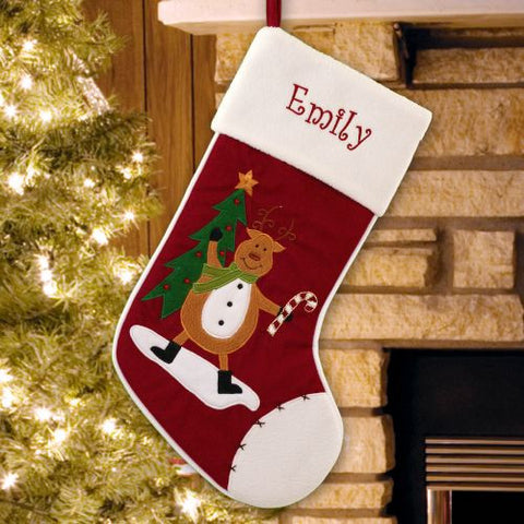 Cute Reindeer Embroidered Christmas Stocking