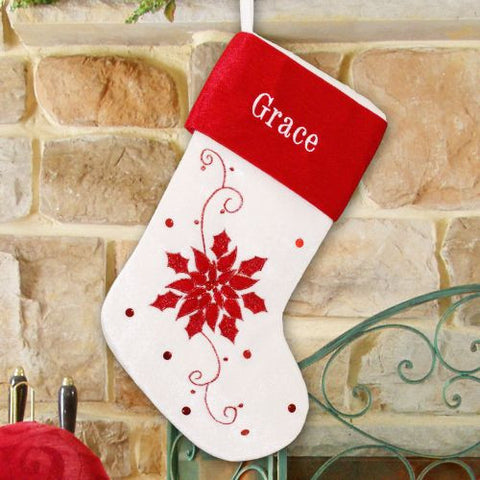 Poinsettia Embroidered Christmas Stocking