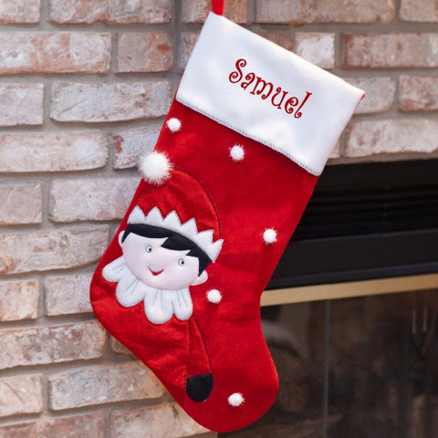 Elf Embroidered Stocking