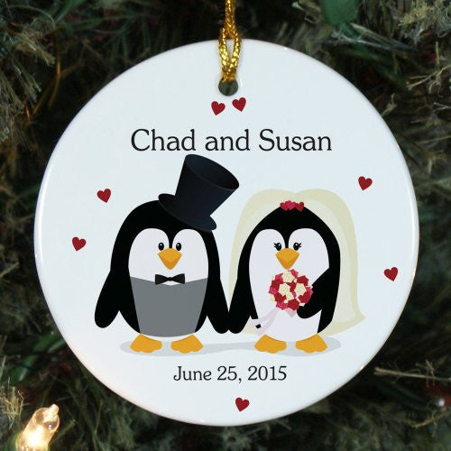 Penguin Bride and Groom Personalized Ornament