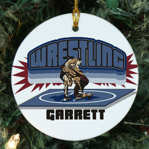 Wrestling Personalized Christmas Ornament
