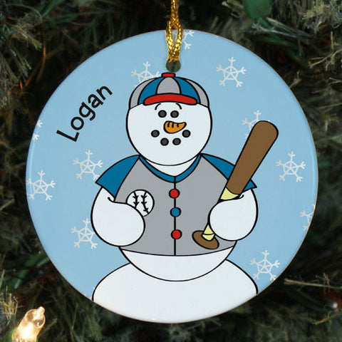 Snowman Baseball Christmas Ornament