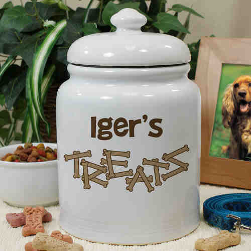 Dog Bone Personalized Treat Jar