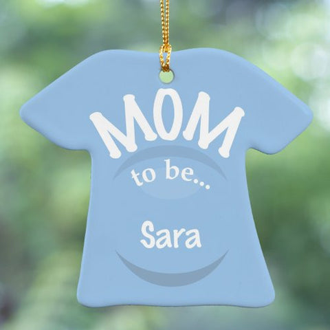 New Mom To Be Personalized T-Shirt Ornament- Blue