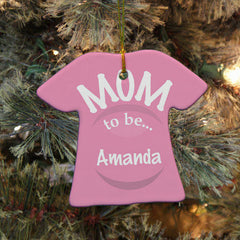 New Mom To Be Personalized T-Shirt Ornament- Pink