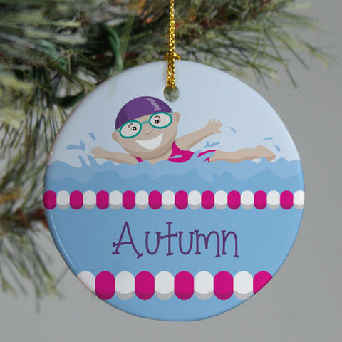 Swimming Girl Personalized Christmas Ornament