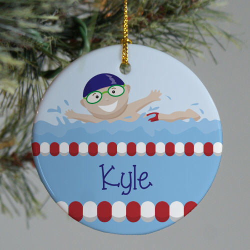 Swimming Boy Personalized Christmas Ornament