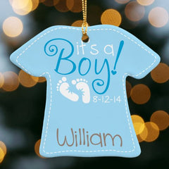 It's A Boy Personalized T-Shirt Ornament