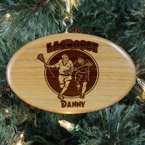 Lacrosse Personalized Wood Ornament