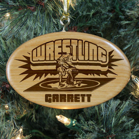 Wrestling Personalized Wood Ornament