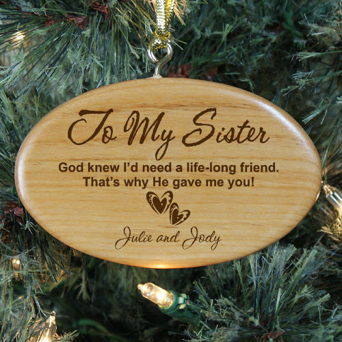 To My Sister Personalized Wood Ornament