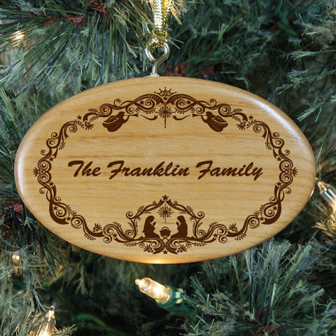 Family Nativity Christmas Personalized Wood Ornament